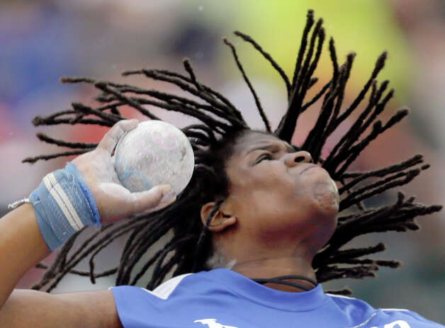 Felisha Johnson competes in the women�s shot put qualifying round  at the U.S. Olympic Track and Field Trials Thursday, June 28, 2012, in Eugene, Ore. (AP Photo/Matt Slocum) Photo: Associated Press