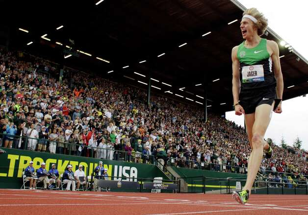 Evan Jager celebrates first place in the men's 3000 meter steeplechase at the U.S. Olympic Track and Field Trials Thursday, June 28, 2012, in Eugene, Ore. (AP Photo/Matt Slocum) Photo: Associated Press