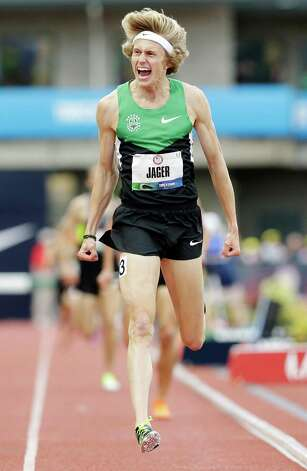 Evan Jager celebrates after winning the men's 3000 meter steeplechase at the U.S. Olympic Track and Field Trials Thursday, June 28, 2012, in Eugene, Ore. (AP Photo/Eric Gay) Photo: Associated Press