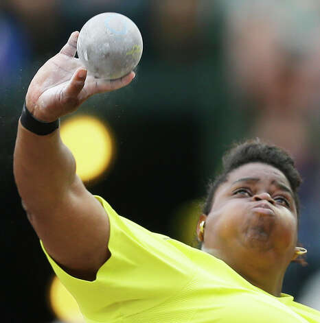 Chandra Brewer competes in the women�s shot put qualifying round  at the U.S. Olympic Track and Field Trials Thursday, June 28, 2012, in Eugene, Ore. (AP Photo/Matt Slocum) Photo: Associated Press