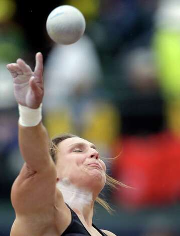 Adriane Blewitt-Wilson competes in the women�s shot put qualifying round  at the U.S. Olympic Track and Field Trials Thursday, June 28, 2012, in Eugene, Ore. (AP Photo/Matt Slocum) Photo: Associated Press