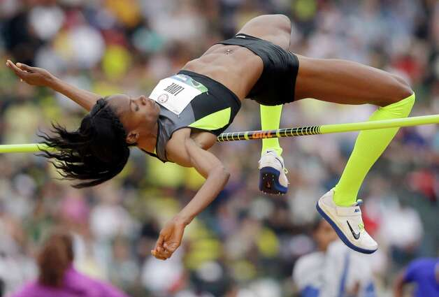 Chaunte Lowe competes in the women�s high jump qualifying round at the U.S. Olympic Track and Field Trials Thursday, June 28, 2012, in Eugene, Ore. Lowe tied for first. (AP Photo/Marcio Jose Sanchez) Photo: Associated Press