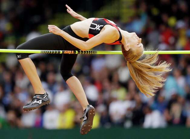 Rebecca Christensen competes in the women�s high jump qualifying round  at the U.S. Olympic Track and Field Trials Thursday, June 28, 2012, in Eugene, Ore. (AP Photo/Marcio Jose Sanchez) Photo: Associated Press