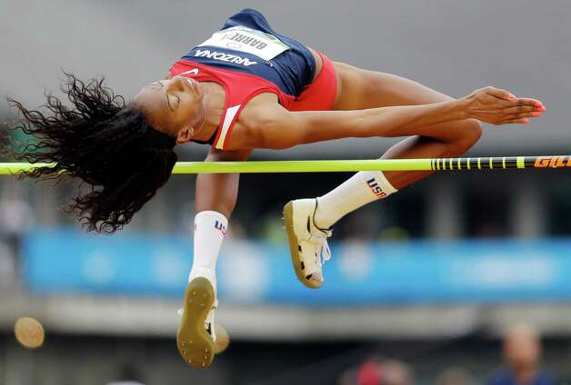 Brigetta Barrett competes in the women�s high jump qualifying round at the U.S. Olympic Track and Field Trials Thursday, June 28, 2012, in Eugene, Ore. Barrett tied for first. (AP Photo/Marcio Jose Sanchez) Photo: Associated Press