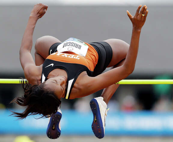 Shanay Briscoe competes in the women�s high jump qualifying round  at the U.S. Olympic Track and Field Trials Thursday, June 28, 2012, in Eugene, Ore. Briscoe took first place. (AP Photo/Marcio Jose Sanchez) Photo: Associated Press