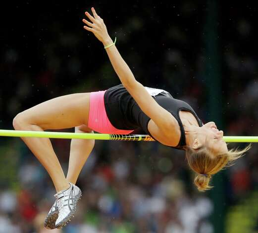 Kristen Meister competes in the women�s high jump qualifying round at the U.S. Olympic Track and Field Trials Thursday, June 28, 2012, in Eugene, Ore. (AP Photo/Marcio Jose Sanchez) Photo: Associated Press