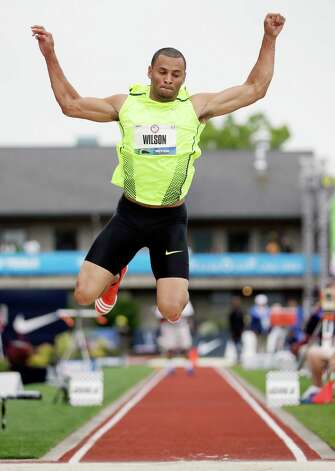 Aarik Wilson competes in triple jump qualifying at the U.S. Olympic Track and Field Trials Thursday, June 28, 2012, in Eugene, Ore. Wilson place third. (AP Photo/Matt Slocum) Photo: Associated Press