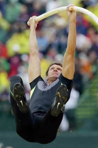 Brad Walker clears the bar in the pole vault final at the U.S. Olympic Track and Field Trials Thursday, June 28, 2012, in Eugene, Ore. (AP Photo/Charlie Riedel) Photo: Associated Press