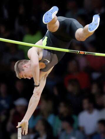 Scott Roth  clears the bar in the pole vault final at the U.S. Olympic Track and Field Trials Thursday, June 28, 2012, in Eugene, Ore. (AP Photo/Matt Slocum) Photo: Associated Press