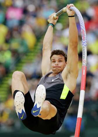 Derek Miles competes in the pole vault final at the U.S. Olympic Track and Field Trials Thursday, June 28, 2012, in Eugene, Ore. (AP Photo/Charlie Riedel) Photo: Associated Press