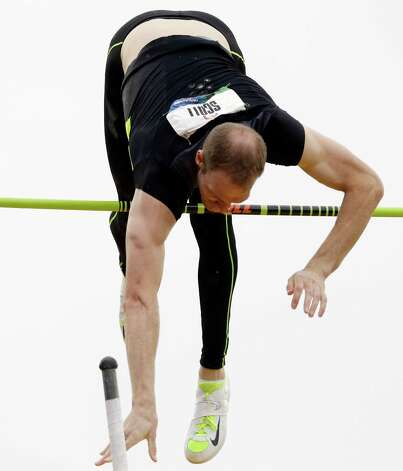 Jeremy Scott competes in the men's pole final at the U.S. Olympic Track and Field Trials Thursday, June 28, 2012, in Eugene, Ore. (AP Photo/Charlie Riedel) Photo: Associated Press