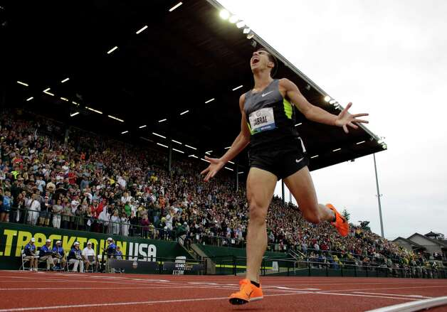 Donald Cabral celebrates second place in the men's 3000 meter steeplechase final at the U.S. Olympic Track and Field Trials Thursday, June 28, 2012, in Eugene, Ore.  (AP Photo/Matt Slocum) Photo: Associated Press