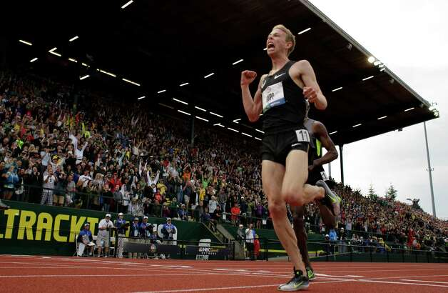 Galen Rupp reacts after winning the men's 5000 meter final at the U.S. Olympic Track and Field Trials Thursday, June 28, 2012, in Eugene, Ore. (AP Photo/Matt Slocum) Photo: Associated Press
