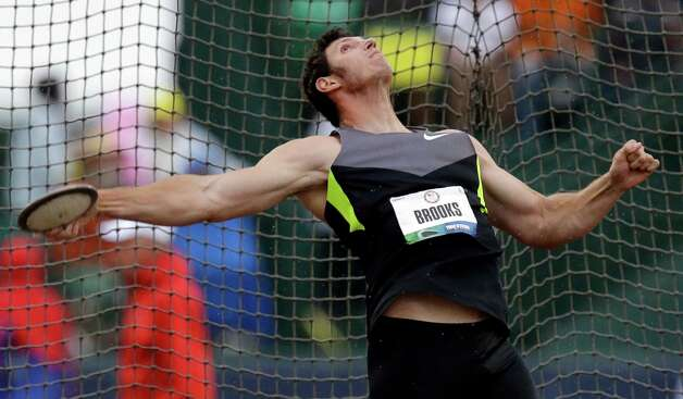 Lance Brooks competes in the men's discus final at the U.S. Olympic Track and Field Trials Thursday, June 28, 2012, in Eugene, Ore. Brooks finished first.  (AP Photo/Charlie Riedel) Photo: Associated Press