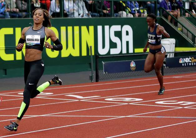 Sanya Richards-Ross finishes first in her heat in the women's 200 meters at the U.S. Olympic Track and Field Trials Thursday, June 28, 2012, in Eugene, Ore.  (AP Photo/Matt Slocum) Photo: Associated Press