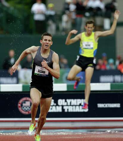 Kyle Alcorn competes during the men's 3000 meter steeplechase final at the U.S. Olympic Track and Field Trials Thursday, June 28, 2012, in Eugene, Ore. (AP Photo/Marcio Jose Sanchez) Photo: Associated Press