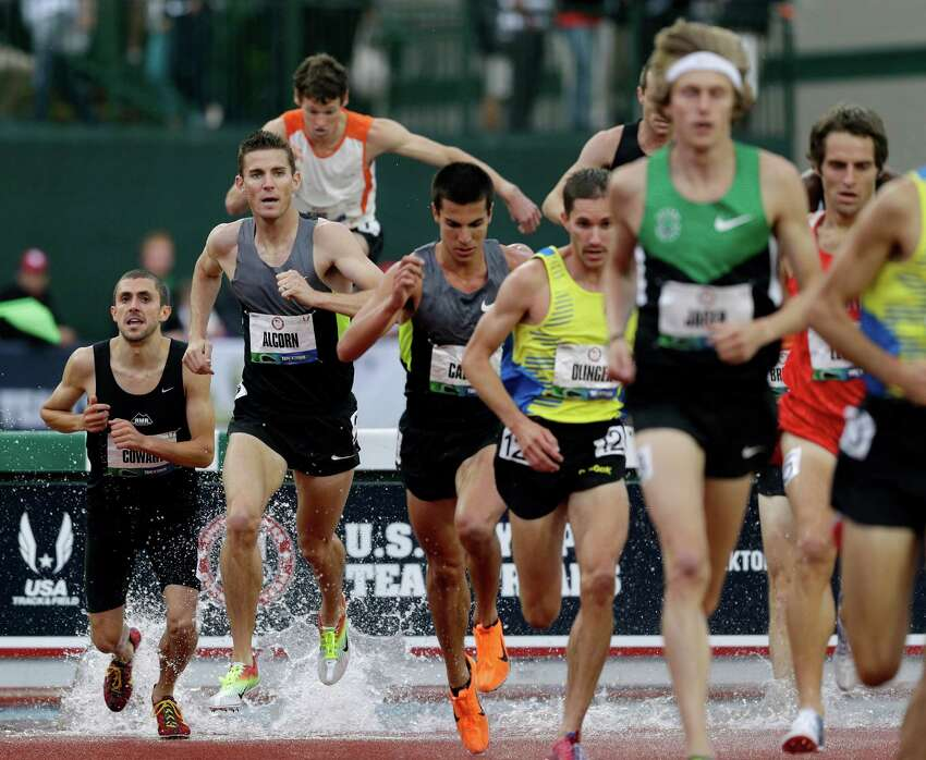 Kyle Alcorn competes during the men's 3000 meter steeplechase final at the U.S. Olympic Track and Field Trials Thursday, June 28, 2012, in Eugene, Ore. (AP Photo/Marcio Jose Sanchez)