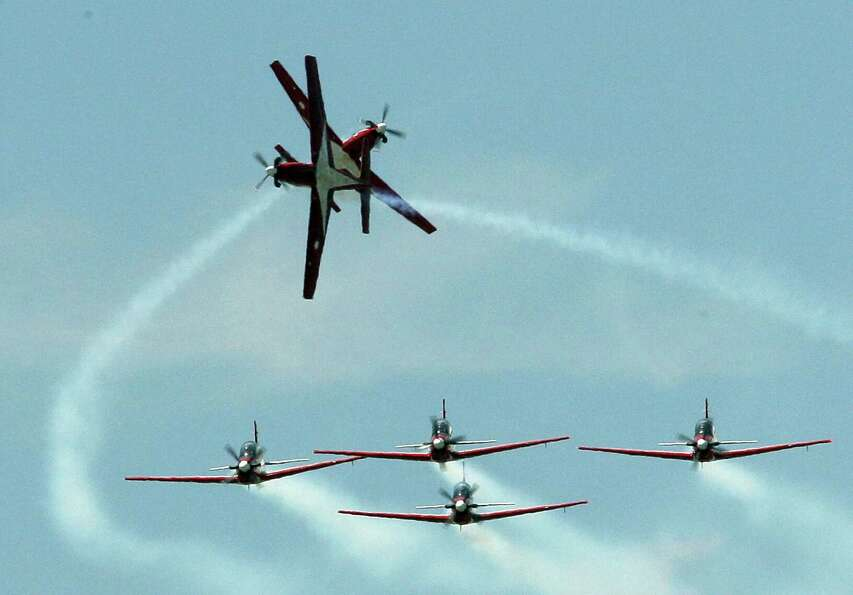 Indonesian flight demonstration team Jupiter KT1 performs aerobatic flight on Friday, June 29, 2012