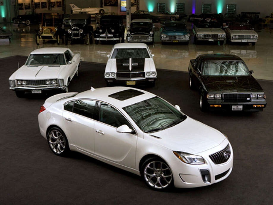 "A 2012 Buick Regal GS, recently named to the Hagerty Insurance ""Hot List"" of future collectibles, sits in front of current collectible Buicks including (l to r) a 1963 Riviera, a 1970 GSX, and a 1987 GNX Thursday, February 2, 2012 at the General Motors Heritage Center in Sterling Heights, Michigan. (Photo by John F. Martin for Buick) Photo: Wieck / © 2012 John F. Martin and General Motors. This image is protected by copyright but provided for use under a Creative Commons 3.0"