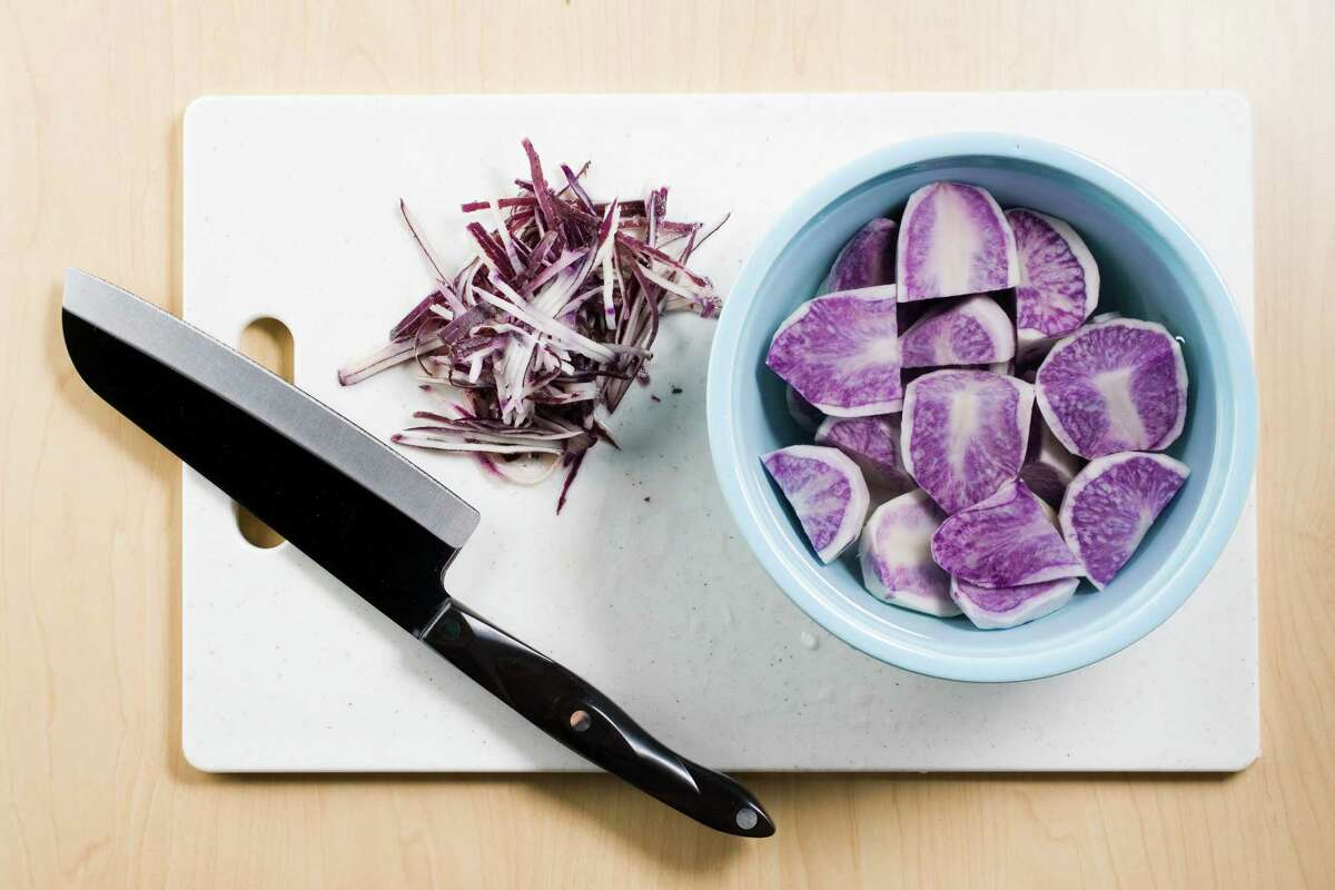Eating purple potatoes can lower your blood pressure because they contain anthocyanins.