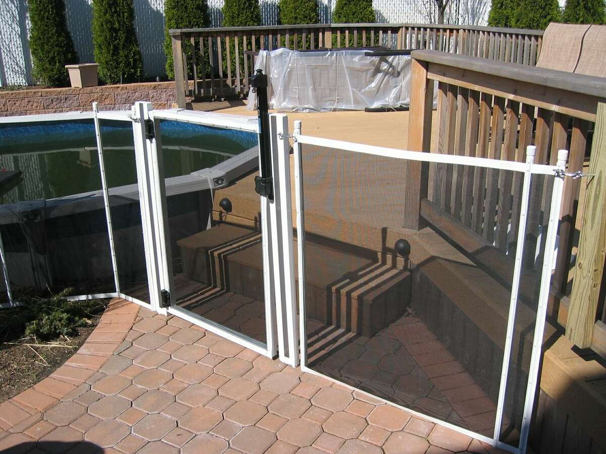To prevent children from climbing or falling into an above-ground pool, install a mesh fence around the access point and around the perimeter.