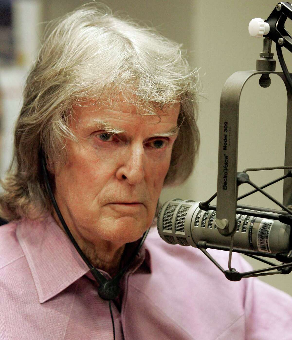 **FILE** Radio personality Don Imus appears on Rev. Al Sharpton's radio show, in New York in this April 9, 2007, file photo. Two months after Imus' ignominious firing from his syndicated radio show at WFAN-AM, a variety of fill-ins have rolled through the revolving door at the station, but no successor has been chosen. (AP Photo/Richard Drew, File)
