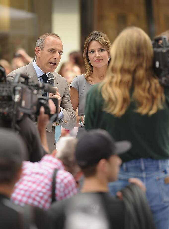 "NEW YORK, NY - JUNE 29:  Matt Lauer and Savannah Guthrie co-host NBC's ""Today"" at Rockefeller Plaza on June 29, 2012 in New York City.  (Photo by Michael Loccisano/Getty Images) Photo: Michael Loccisano, Getty Images"