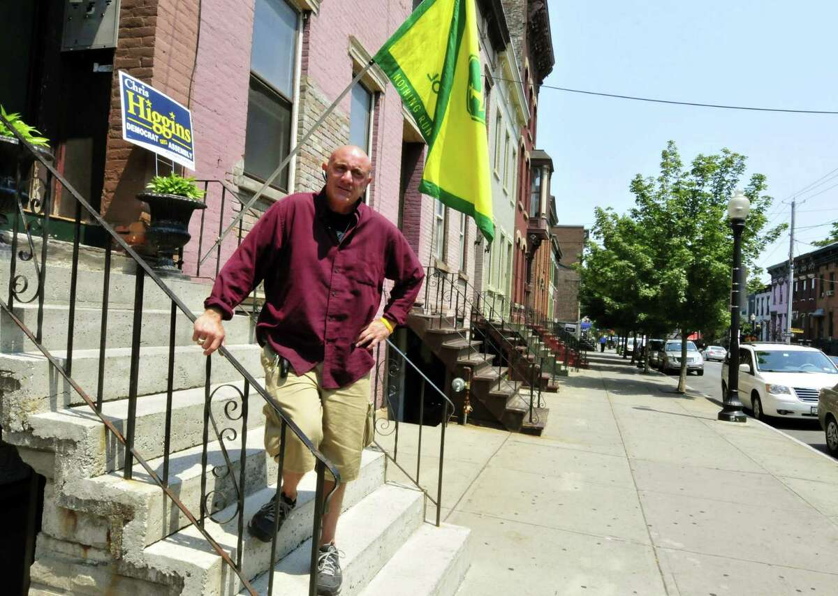 Buisness owner and Lark Street resident Robert ?RA? DePrima in front of his home in Albany N.Y. Friday June 29, 2012. (Michael P. Farrell/Times Union)