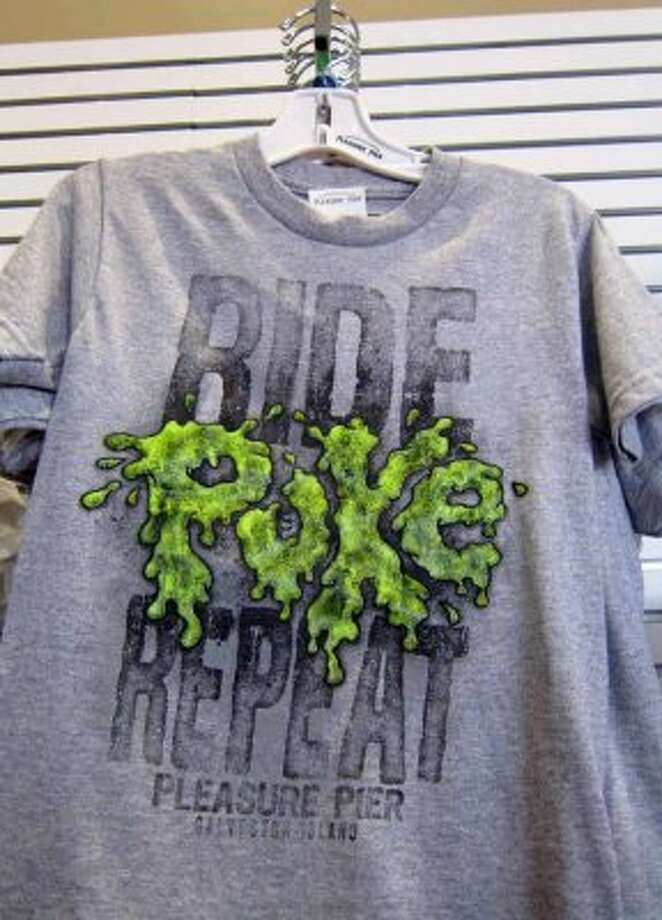 $13.99:A t-shirt sold in a gift shop on the Galveston Pleasure Pier.