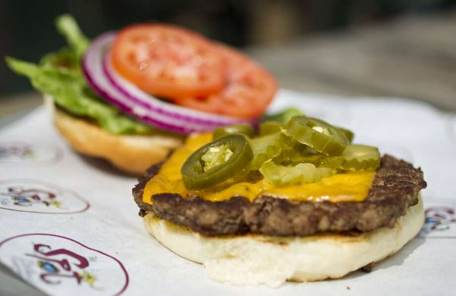 $5.74:A top-it-yourself cheeseburger at The Spot.