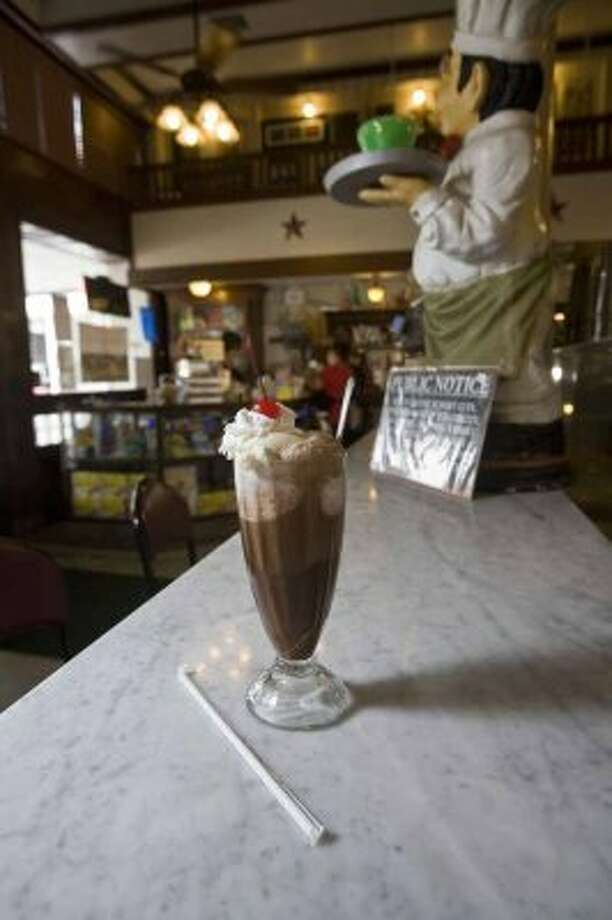 $3.50:An old fashonioned chocolate ice cream soda at Star Drug Store.  