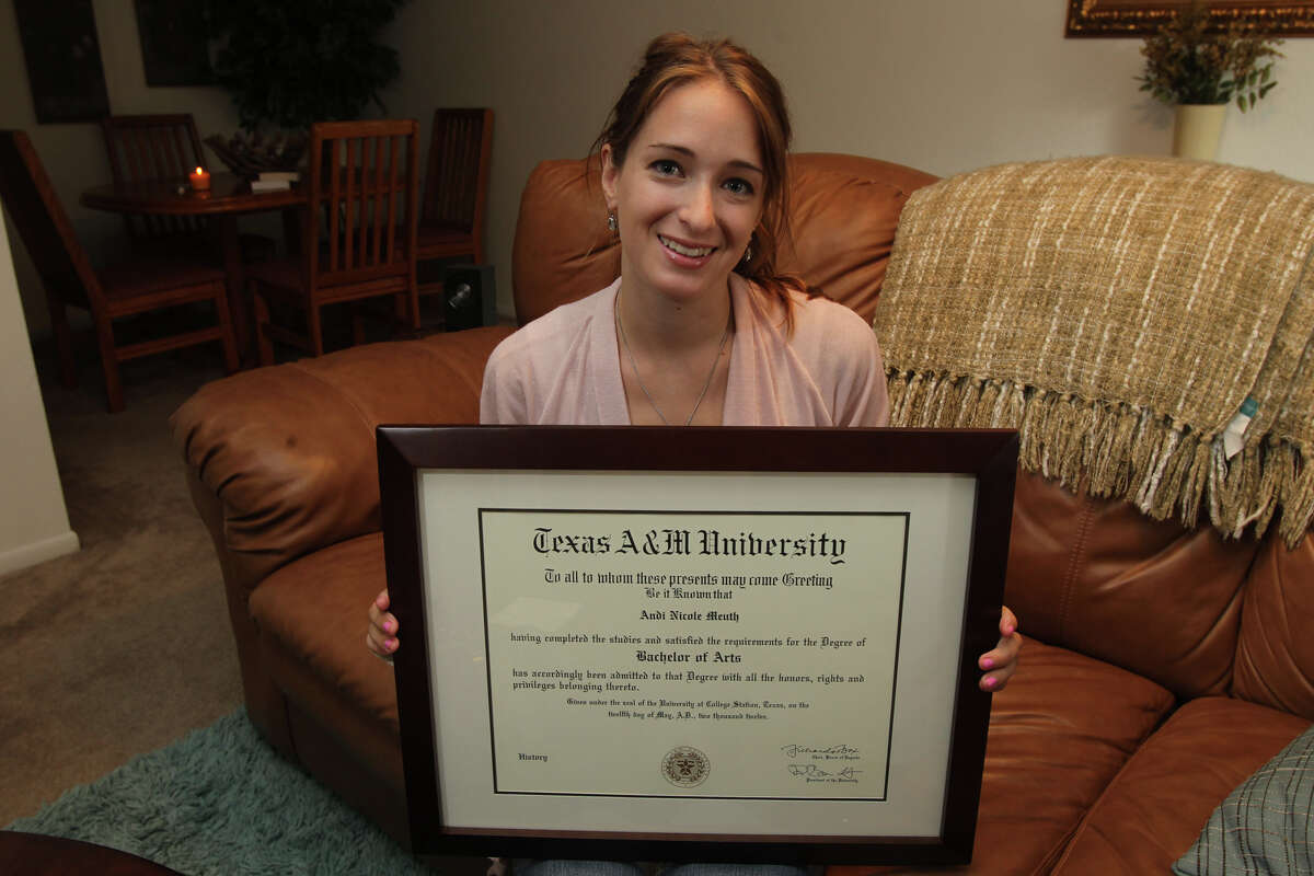 Andi Meuth is a recent Texas A&M grad and earned a history degree. Andi has been applying for many jobs, but hasn't managed to land a decent one yet. She applied at USAA recently and is hoping that one will pan out.