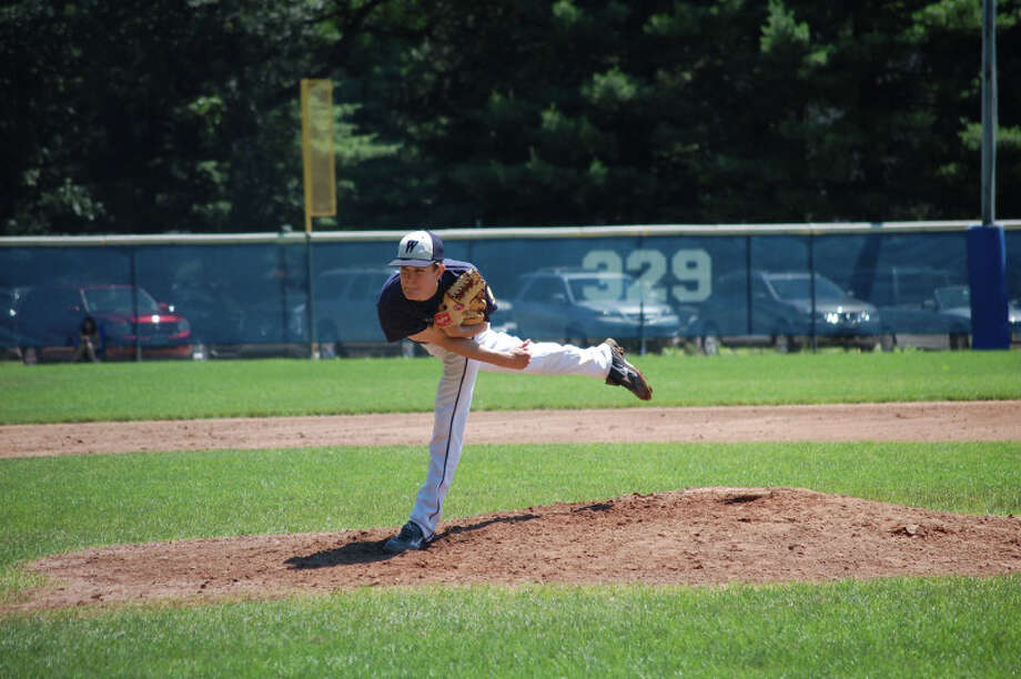 Westport Senior Legion's Eric Lombardo throws a pitch against Wilton June 23. Greenwich defeated Westport 3-1 Thursday. Photo: Robert Chasin / Contributed Phot