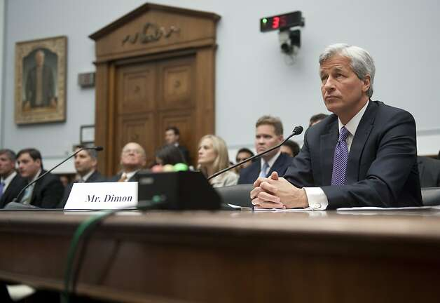JPMorgan Chase Chairman and CEO Jamie Dimon testifies during a US House Financial Services Committee hearing on Capitol Hill in Washington, DC, June 19, 2012, about JPMorgan Chase's trading loss. AFP PHOTO / Saul LOEBSAUL LOEB/AFP/GettyImages Photo: Saul Loeb, AFP/Getty Images