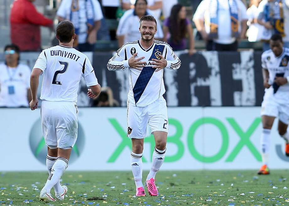 CARSON, CA - JUNE 17:  David Beckham #23 of the Los Angeles Galaxy reacts after just missing the net on a  direct free kick in the second half of the MLS match against the Portland Timbers at The Home Depot Center on June 17, 2012 in Carson, California. The Galaxy defeated the Timbers 1-0.  (Photo by Victor Decolongon/Getty Images) Photo: Victor Decolongon, Getty Images
