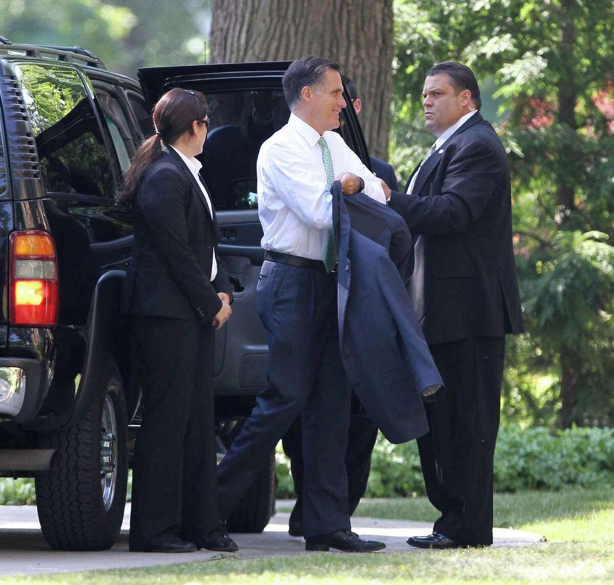 Republican presidential candidate, former Massachusetts Gov. Mitt Romney arrives for a private fundraiser in Buffalo N.Y., on Friday, June 29, 2012. (AP Photo/James P. McCoy)