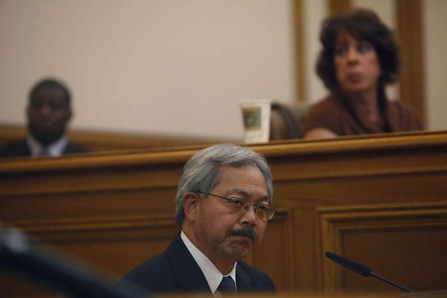 Mayor Ed Lee testifies before the Ethics Commission during suspended Sheriff Ross Mirkarimi's official misconduct hearing at City Hall on Friday, June 29, 2012 in San Francisco, Calif. Photo: Lea Suzuki, The Chronicle