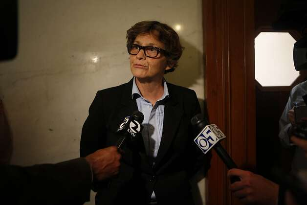 Debra Walker, commissioner on the Building Commission, talks to the media while  suspended Sheriff Ross MirkarimiÕs official misconduct hearing was adjourned in City Hall on Friday, June 29, 2012 in San Francisco, Calif. Photo: Lea Suzuki, The Chronicle