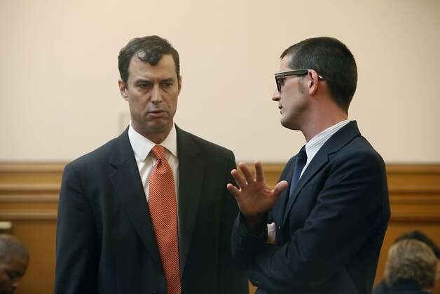 Attorney Sheppard Kopp and attorney David Waggoner talk in Room 400 before the start of suspended Sheriff Ross Mirkarimi's official misconduct hearing in City Hall on Friday, June 29, 2012 in San Francisco, Calif. Photo: Lea Suzuki, The Chronicle