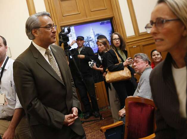 Suspended Sheriff Ross Mirkarimi (left) stands in Room 400 after his official misconduct hearing was abruptly adjourned on Friday, June 29, 2012 in San Francisco, Calif. Photo: Lea Suzuki, The Chronicle