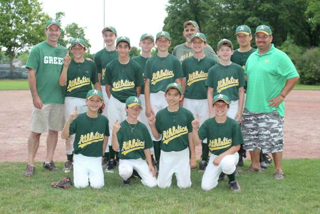 The Athletics of the Eastern Division recently won the Greenwich Cal Ripken Major League Championship, defeating the Marlins, Western Division Champions taking the best-of-three championship series in two straight games. The team was made up of, front row (kneeling):  Pierce Ornstein, Cole Price, Nick Glass and Daniel Latto. Middle row: Assistant Coach Kyle Hartley, Cole Hartley, Chris Loparco, Johnny Alexandre, James Scarlata, Chris Nicolay, and Assistant Coach Gordon Beinstein. Back row: Ethan Pasquali and  John Petit, Head Coach Dave Loparco and Jake Beinstein. Photo: Contributed Photo