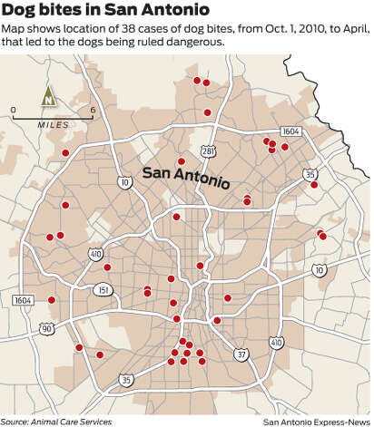 Map shows location of 38 cases of dog bites, from Oct. 1, 2010, to April, that led to the dogs being ruled dangerous. Photo: Mark Blackwell