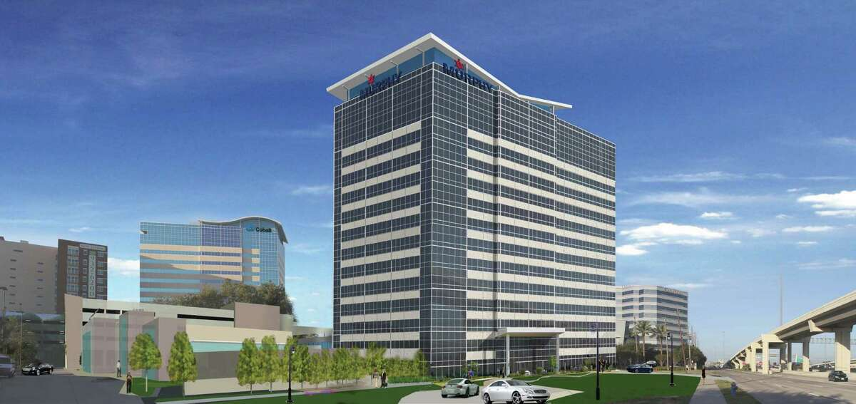 This rendering shows MetroNational's proposed 14-story tower for the Memorial City area.