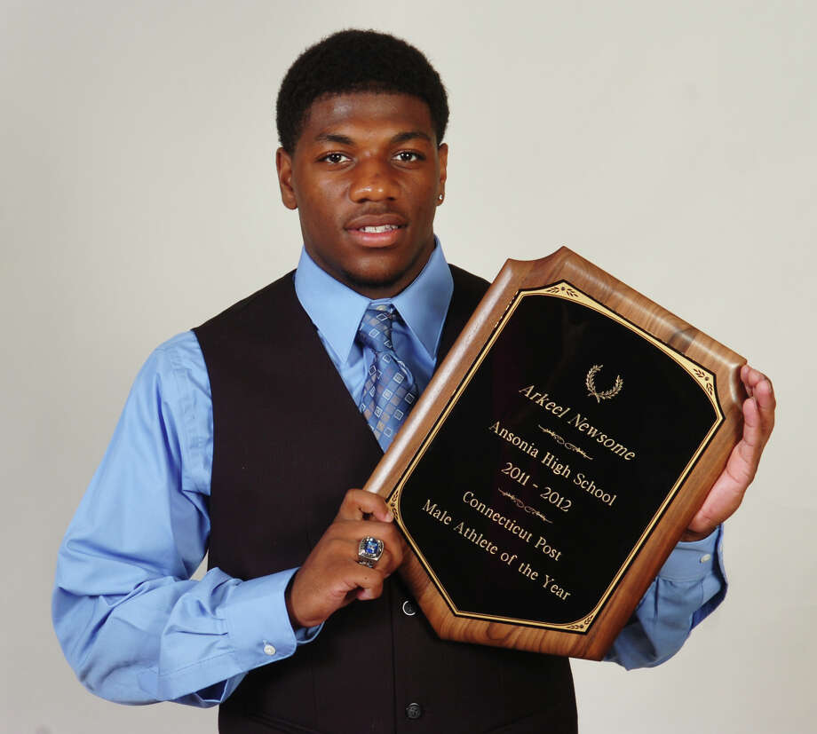 Arkeel Newsome, Ansonia High School, athlete of the year. Photo: Ned Gerard / Connecticut Post