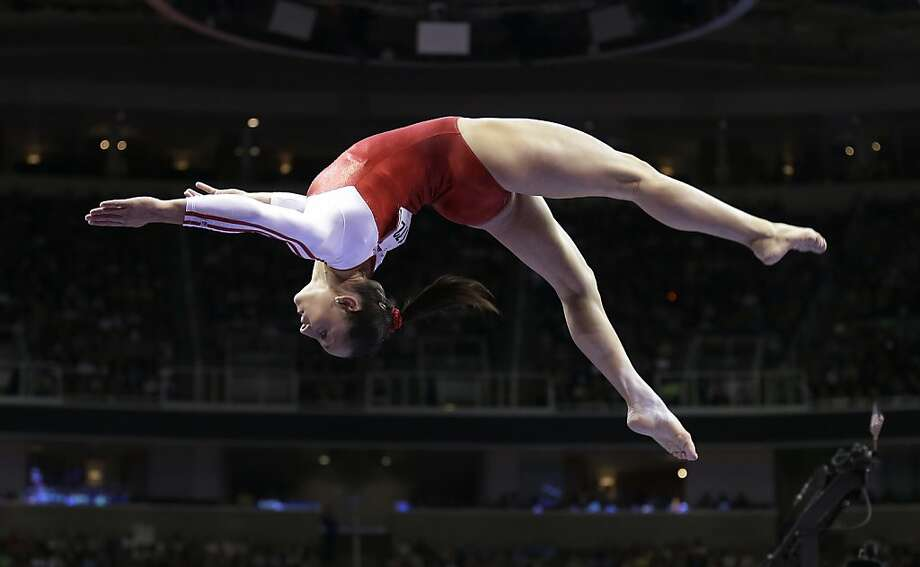 Jordyn Wieber performs on the balance beam during the preliminary round of the women's Olympic gymnastics trials, Friday, June 29, 2012, in San Jose, Calif. (AP Photo/Gregory Bull) Photo: Gregory Bull, Associated Press
