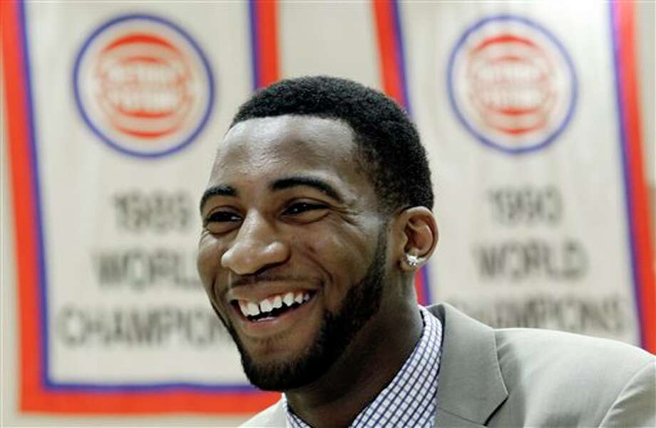 Detroit Pistons first-round draft choice Andre Drummond smiles after being introduced to the media at an NBA basketball news conference in Auburn Hills, Mich., Friday, June 29, 2012. (AP Photo/Paul Sancya)