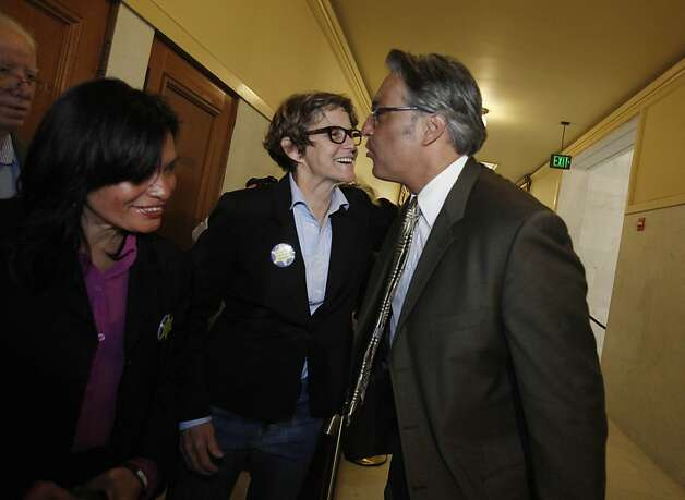 Debra Walker (second from right), Building Inspection Commissioner, and other supporters greet suspended Sheriff Ross Mirkarimi (right) as he arrives at Room 400 for his official misconduct hearing at City Hall on Friday, June 29, 2012 in San Francisco, Calif. Photo: Lea Suzuki, The Chronicle