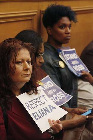 Tami Bryant of San Francisco (left) and Mahnani Clay of San Francisco (right) hold signs supporting suspended Sheriff Ross Mirkarimi during his official misconduct hearing at City Hall on Friday, June 29, 2012 in San Francisco, Calif. Photo: Lea Suzuki, The Chronicle