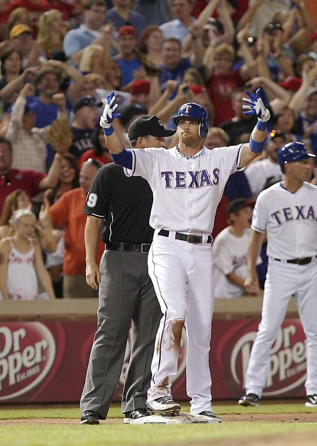 To get speedy outfielder Craig Gentry from Texas, the A's had to part with outfielder Michael Choice, their first pick in 2010. Photo: Tim Sharp, Associated Press
