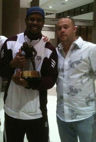 A&M fan Zach Barrett supported Von Miller at the ceremony where Miller received the Butkus Award. Photo: Courtesy Photo